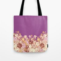 floral decor on purplish pink Tote Bag
