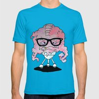 Brainy Hipster Mens Fitted Tee Teal SMALL