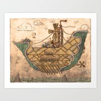 ship Art Prints featuring Ship by Cacho de Colegiales