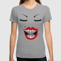 MANEATER. Womens Fitted Tee Tri-Grey SMALL