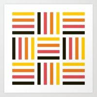 Pastel striped square pattern Art Print
