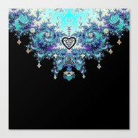 Celtic Fractal Celtic Heart Tapestry Canvas Print