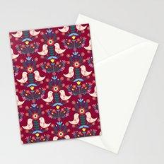 Folk Birds Red Stationery Cards