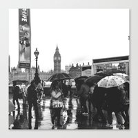Umbrellas in London  Canvas Print