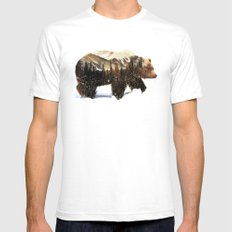 Arctic Grizzly Bear SMALL Mens Fitted Tee White