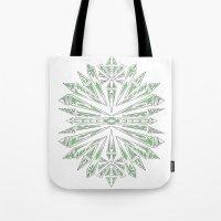 Green Kaleidoscopic Snow… Tote Bag