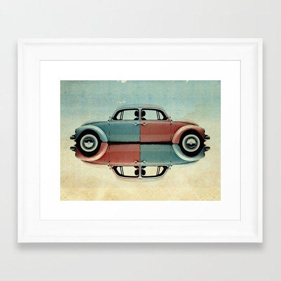 checkered bug - VW beetle Framed Art Print