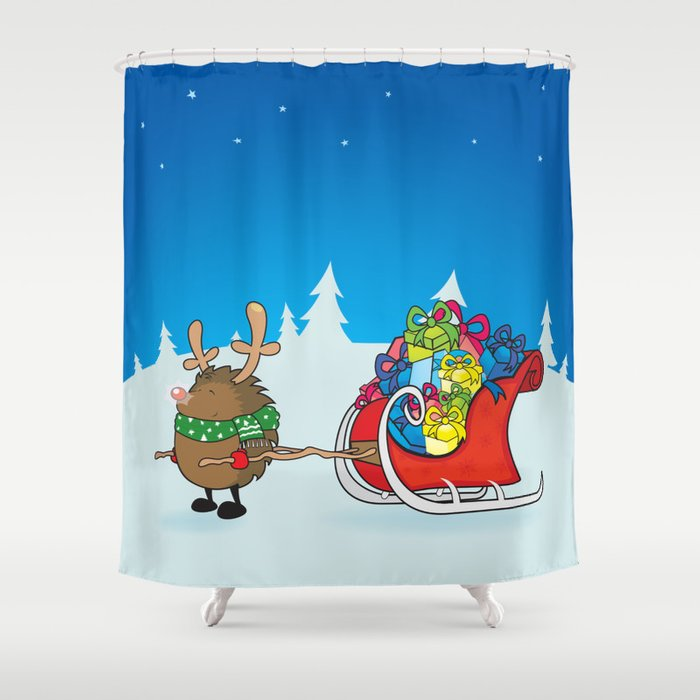 Rudolph The Red Nosed Hedgehog Shower Curtain By Mangulica