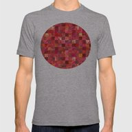 Red Geometric Pattern Mens Fitted Tee Athletic Grey LARGE