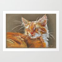 Sleeping Ginger Kitten C… Art Print