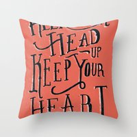Throw Pillow featuring Keep Your Head Up, Keep Your Heart Strong  by Tom Chalky