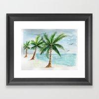 watercolor palm Framed Art Print