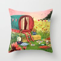Gypsy Caravan At Sunset Throw Pillow