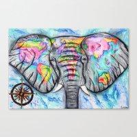wanderlust elephant map watercolor travel art Canvas Print