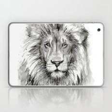 Lion Watercolor Black and White Animal Portrait Laptop & iPad Skin