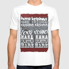 Hare Krishna White Mens Fitted Tee SMALL