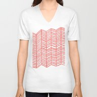 Unisex V-Neck featuring Coral Herringbone by Cat Coquillette