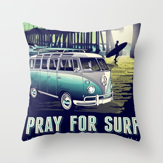 pray for surf sunset beach surf vintage retro Throw Pillow