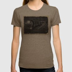 Spooky Train Womens Fitted Tee Tri-Coffee SMALL