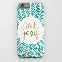 quote iPhone & iPod Cases featuring Treat Yo Self – Gold & Turquoise by Cat Coquillette