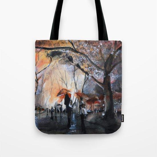 Autumn rain - watercolor Tote Bag