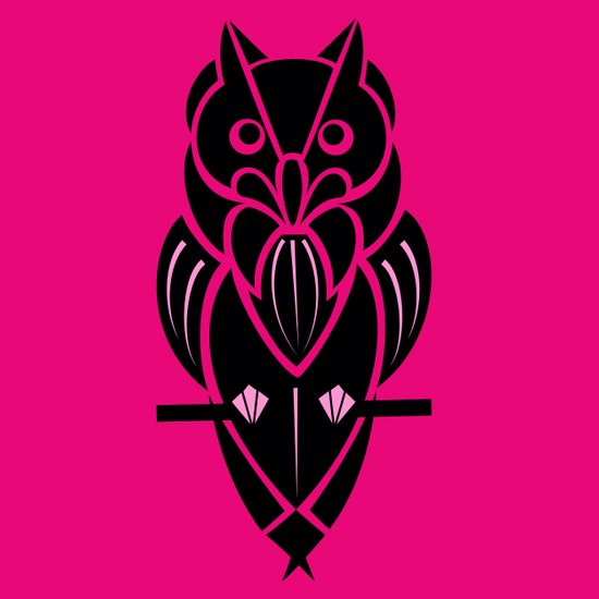 Owl - simple design - PINK Art Print