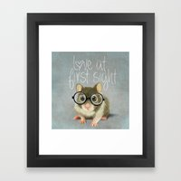 A Small Mouse With Glass… Framed Art Print