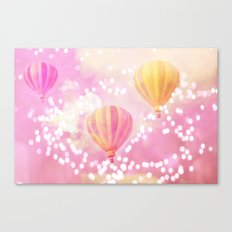 Carnival Hot Air Balloons Pink and Yellow Canvas Print