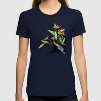 Birds of Paradise  Womens Fitted Tee Navy SMALL