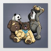 Three Angry Bears Canvas Print