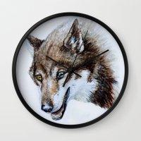Heterocromia Wolf Wall Clock