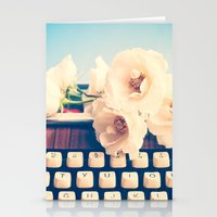 Typewriter And Roses  Stationery Cards