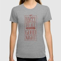 Happy Christmas Womens Fitted Tee Tri-Grey SMALL