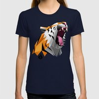TML Polygon Tiger ROAR!!… Womens Fitted Tee Navy SMALL