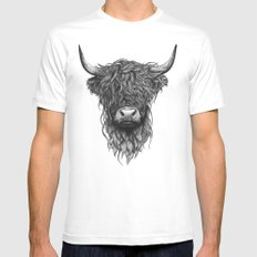 Highland Cattle SMALL White Mens Fitted Tee