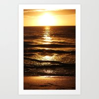 Golden Sun Waves Art Print
