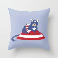 Captain AmeriCAT: The First Catvenger Throw Pillow