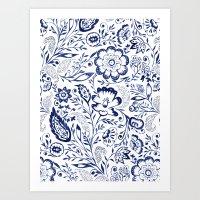 Folk Floral Indigo Art Print