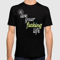 #YOLO SMALL Mens Fitted Tee Black
