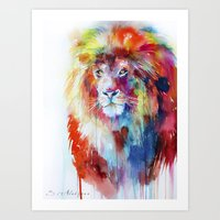 lion Art Prints featuring Lion by Slaveika Aladjova