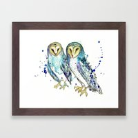 Blue Owls Framed Art Print