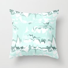 Marbled in mint Throw Pillow