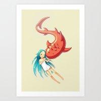 Red Whale Art Print