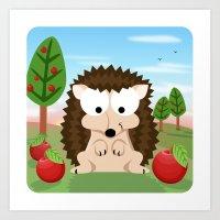 Woodland Animals Series II. hedgehog Art Print