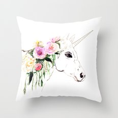 Unicorn, flowers, watercolor Throw Pillow
