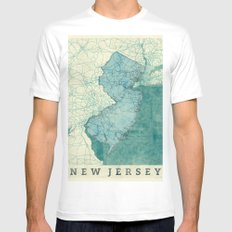 New Jersey State Map Blue Vintage White Mens Fitted Tee SMALL