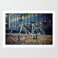 Locked bike Art Print