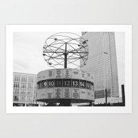 World Clock Black And Wh… Art Print
