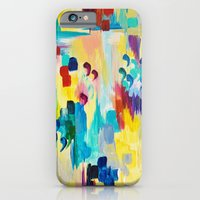 iPhone & iPod Case featuring DONT QUOTE ME Whimsical Rainbow Ikat Chevron Abstract Acrylic Painting Magenta Plum Turquoise Gift by EbiEmporium