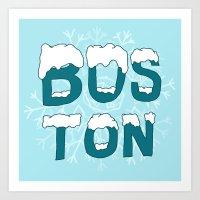 SNOWY BOSTON Art Print